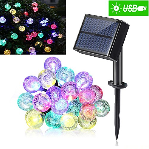 Crystal Ball Solar String Lights Outdoor Lights bulbs (8 Modes 1200mAh) with USB Port Charging Function Waterproof 20 LED 20ft Decorative Fairy Lights