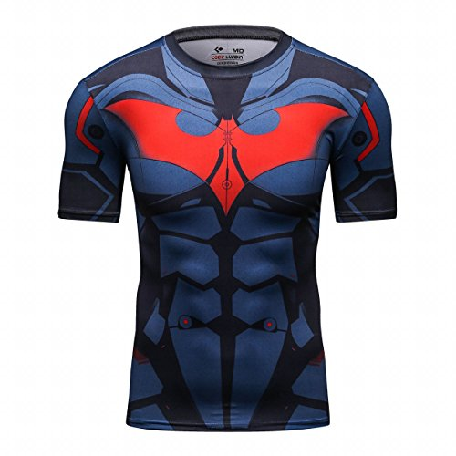 Men's Super-Hero Batman Spiderman American Captain Panther punisher Iron man Superman Sports Shirt Running Short Sleeve Tee