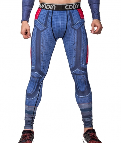 Men's Compression Elastic Tight Leggings Sport Leader Printing Pants