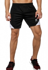Men's Elastic Waist Pants Casual Loose Sports Shorts Black White Series