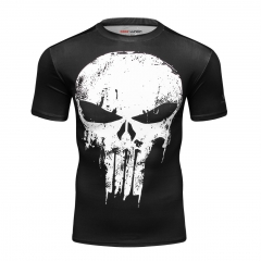 Red Plume Men's Film Super-Hero Skull Logo Sports Shirt Running Party Short Sleeve Tee