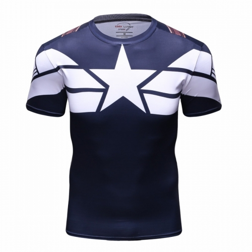 Men's Film Superhero Shirt Sports Running Fitness T-Shirt Party Short Sleeve