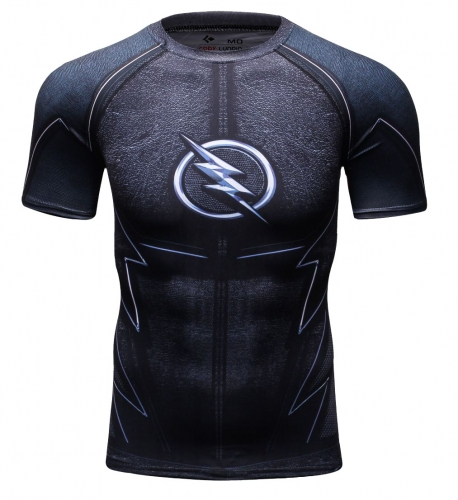 Red Plume Men's Compression Sport T-Shirt Tight Fitness Shirt Lightning Armor Sports Short Sleeve