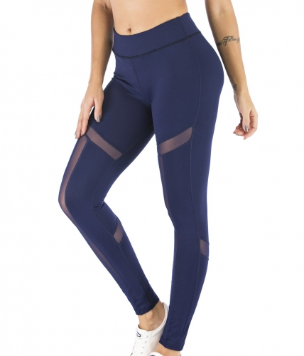 Women's High Waist Mesh Leggings Yoga Slim Pants Workout Pants Athletic Tummy Control Tight Trousers