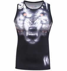 Men's 3D Print Tank Tops Work Out Sleeveless Summer Casual Compressiom Shirt Wolf Head Totem Printing Sport Vest