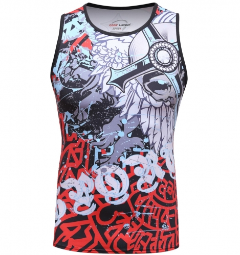 Men's 3D Print Tank Tops Workout Gym Compressiom Sleeveless T-Shirts Anime Printing Sport Vest
