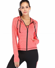 Red Plume Women's Sports Casual Full-Zip Hooded Lightweight Long Sleeve Sweatshirt