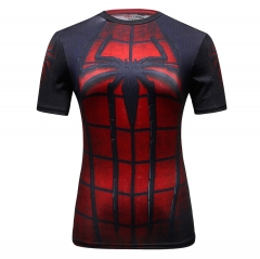 Women's Compression Sports Short-Sleeve T-Shirt Spider Person Top