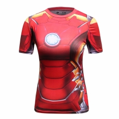 Women's Compression Sports Short-Sleeve T-Shirt, Iron Hero Top