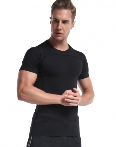 Men's Short Sleeve Compression T Shirt Baselayer Top Cool Dry Fit Tees Running Athletic Workout Shirt