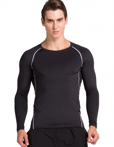 Mens Running Skin Long Sleeve MMA Under Compression Base Layer Shirt / 2 Colors