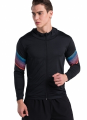 Men's Fashion Lightweight Shirt Stripes Printed Bodybuilding/Outdoor Running Functional Hoodies