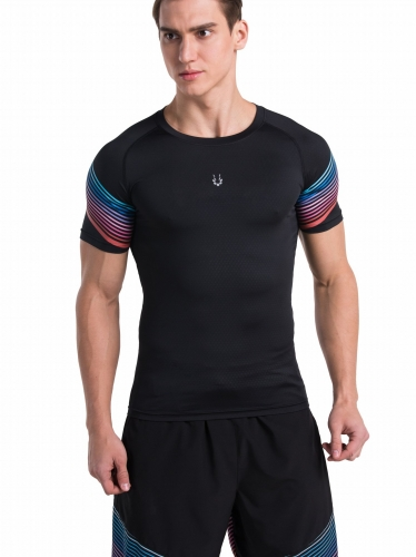 Men's Basic Black Sports Shirt Pattern Sleeve Bodybuilding/Outdoor Running Functional Short Sleeve Tee