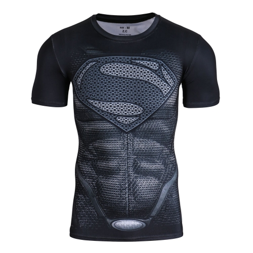 Men's Compression Sports Shirt,Leisure Movie Hero Fitness T-Shirt