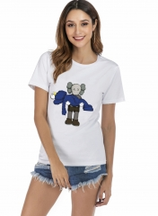 Red Plume Women's Basic Style T-shirt KAWS T-Shirts Crew Neck Cotton T-Shirt Summer Short Sleeve T-Shirt Casual T-Shirt
