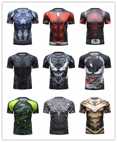 Red Plume Men's Tight Short Sleeve T-Shirt Exercise T-Shirt 3D Digital Printing Quick Dry Short-Sleeved T-Shirt Fitness Training Tops