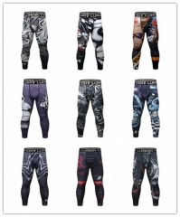 Men's Compression Elastic Tight Leggings Sport Printing Pants Outdoor Running Pants Quick Dry Pants Fashion Trousers