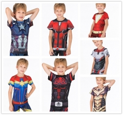 Boy's Casual T-Shirts Avengers T-Shirts Quick Dry Short Sleeve Tee Compression Sports Fitness Shirt Running Shirt