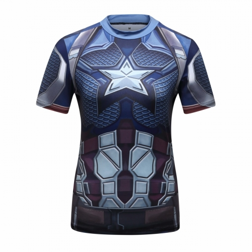Women's Compression Sports Short-Sleeve T-Shirt Captain America Shirts Quick Dry T-Shirt Top Fitness Training T-Shirt