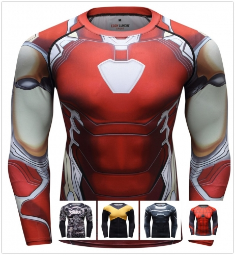 Men's Compression Sports Shirt  Running Functional Long Sleeve Tee Cool Dry Long Sleeve Base Layer Shirts Printing Long Sleeve