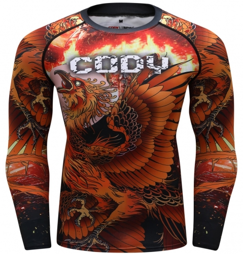 Men's Long Sleeve MMA Flame Phoenix Nirvana Sports Tights  Compression Quick-Dry Functional Long Sleeve Tee