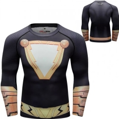 Men's Compression Sports Functional Long Sleeve Black Adam Quick-Dry Long Sleeve Crew Neck Base Layer Shirts