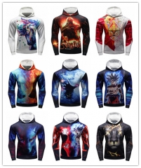 Men's Hoodies 3D Color Printing Loose Fashion Pullover Sports Hoodie Quick-Dry Long Sleeves Hoodies