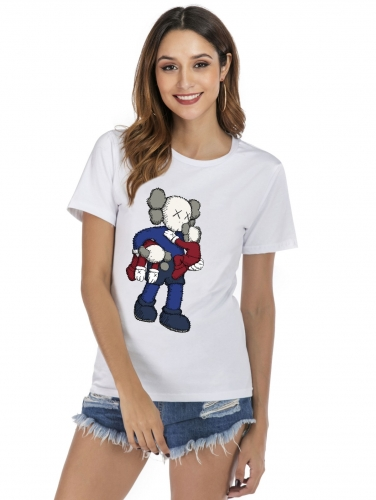 Women's Basic Style T-Shirt KAWS Sesame Street Clothes Crew Neck Cotton T-Shirt Summer Casual Short Sleeve T-Shirt