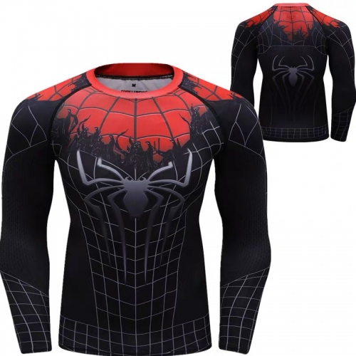 Men's Compression Sports Shirt Spider-Man Clothes Tight Long Sleeve Tee Quick-Dry Functional Long Sleeve Shirts