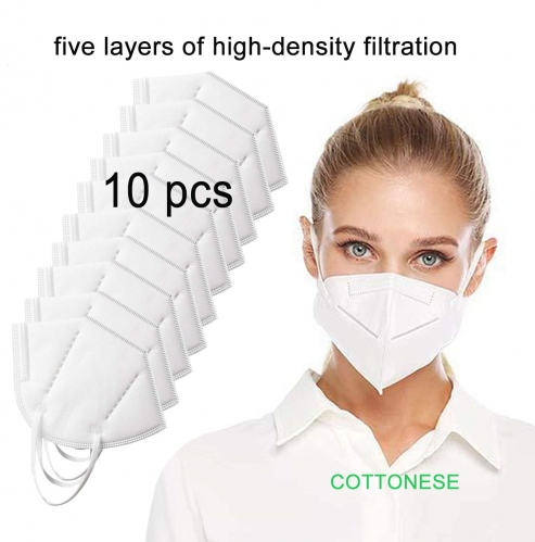 White Face Mask 10pcs Anti Salivary Virus Pollution Dust Mask KN95 5-Ply Face Masks Breathable Industrial Masks