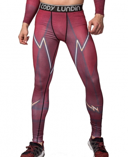 Men's Compression Elastic Tight Leggings Sport Lightning Printing Pants