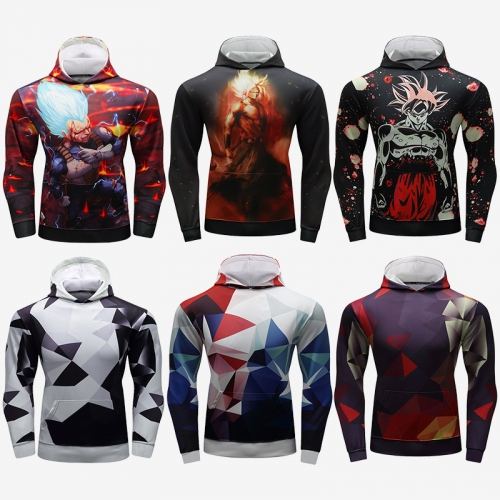Men's Hooded Long Sleeves Fitness Quick-Dry Pullover New Outdoor Running 3D Printed Adult Graphic Hooded Top Hoodies with Pocket