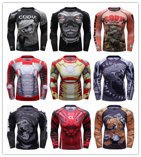 Men's Quick Dry Long Sleeve Clothes 3D Digital Printing Men's Tight Training Exercise Fitness Running Outdoor Shirt
