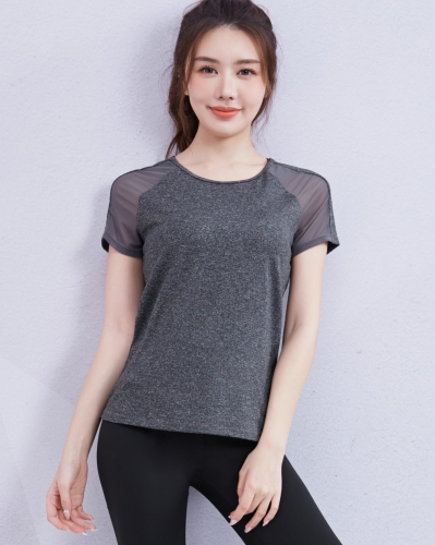 Women's Summer Crew Neck T-Shirts Quick-Dry Fitness Yoga Short Sleeve Tops Gauze Leisure Style Tops