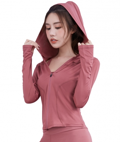 Women's Yoga Jacket Full Zip Hooded Sports Running Jackets Training  Athletic Workout Jacket Slim Fit Coats