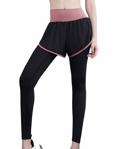 Women's Mixed color Double Layer Workout Pants Low Waist Yoga Pants Athletic Trousers with Elastic Waistband