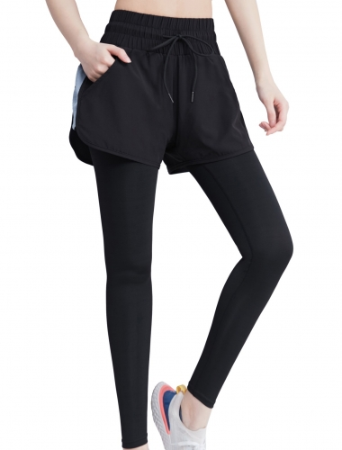 Women's Double Layer and Drawstring Design Workout Pants High Waist Yoga Pants Mixed color Athletic Trousers