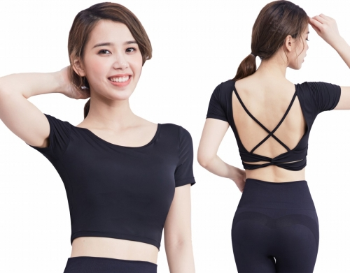 Women's Crop Tops Sexy Cross Back Short Sleeve Quick Dry  Slim Fit Tops Summer Yoga Shirts With Chest Pads