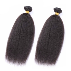 2 Bundles Kinky Straight Hair Extensions Factory Cheap Natural Top Grade Human hair