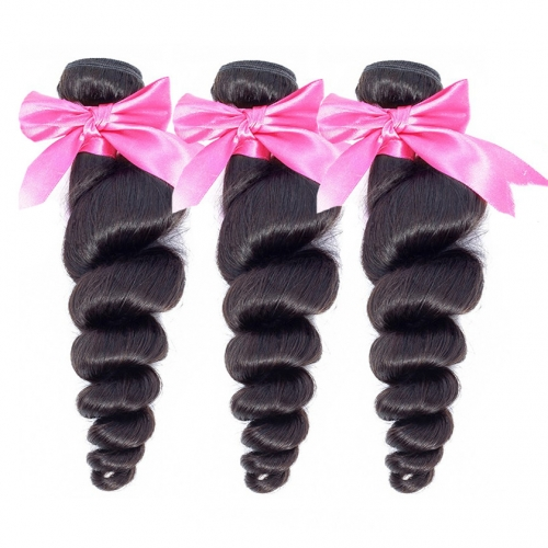 3 Bundles Loose Wave Factory Price No Damage Healthy 100% Best Quality Virgin Loose Wave Hair Weft