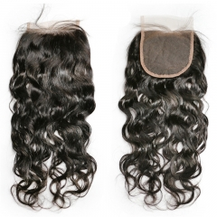 4x4 Lace Closure Water Wave Wholesale Natural Color Free Part Middle 3 Part Virgin HD Lace Closure
