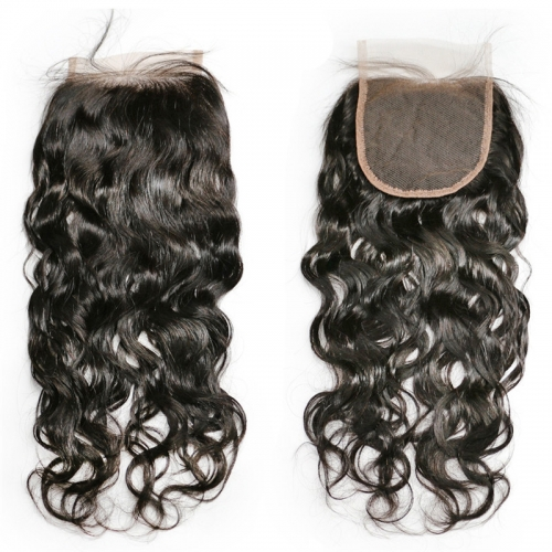 4x4 Lace Closure Water Wave Wholesale Natural Color Free Part Middle 3 Part Virgin Lace Closure