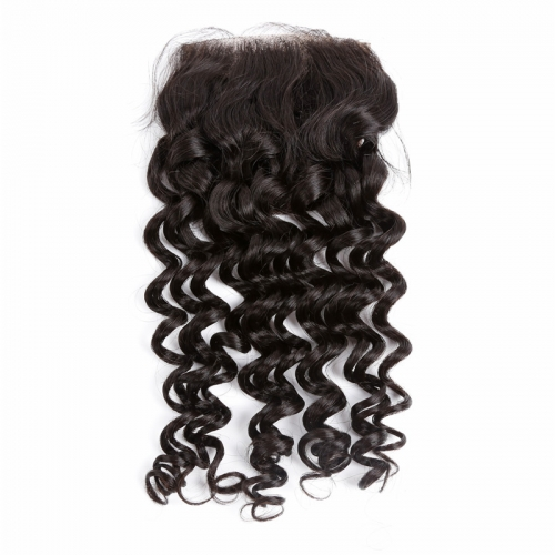 4x4 Lace Closure Deep Wave Transparent Lace Closures Curly No Acid Processing No Silicone Best Selling Bleached Knots 100% Virgin
