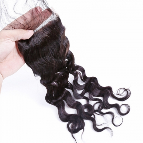 4x4 HD Lace Closure Natural Wave Wavy Cheap Price Bleached Knots Tangle Free Best Selling Virgin
