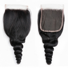 4x4 TransparentLace Closures Loose Wave Bleached Knots Can Be Dyed No Shedding Top Quality