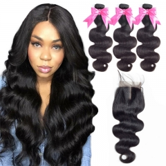 3 Bundles Body Wave Hair Weft With Transparent Lace Closure Beautiful Full And Thick 100% Natural