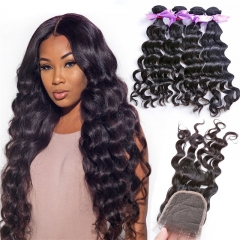 4 Bundles Natural Wave Wavy Hair Weft With Transparent Lace Closure Natural Black Color No Chemical