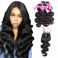 4 Bundles Body Wave Hair Extensions With Lace Transparent Closure Sew In Weave Natural Raw Hair Bundles