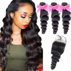 3 Bundles Loose Wave With Lace Closure No Tangle No Shedding Human Hair