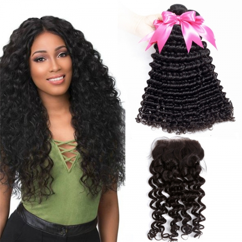 3 Bundles Deep Wave Hair Weft With Lace Closure Top Quality Top Selling No Chemical